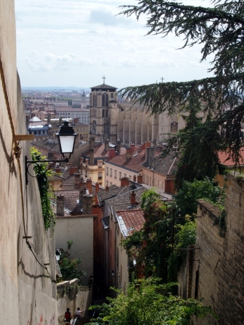 View of Lyon from the steps near Fourvière