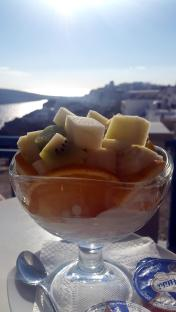 Afternoon snack in Oia - there is nothing like real Greek yoghurt